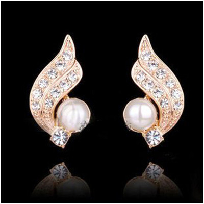 18K Gold Plated Winged Simulated Pearl Earrings