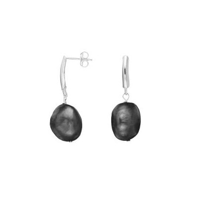 Sterling Silver Black Baroque Pearl Drop Earrings (13-14 mm)