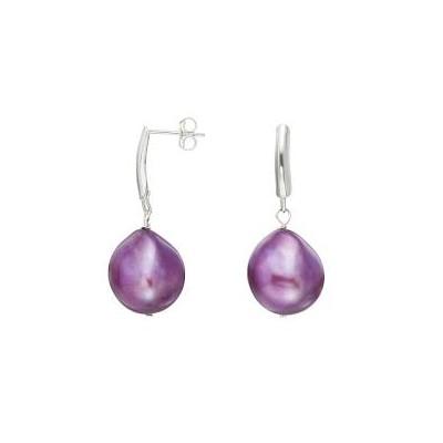 Sterling Silver Purple Baroque Pearl Drop Earrings (13-14 mm) Birthday Gift