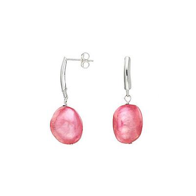 Sterling Silver Pink Baroque Pearl Earrings (13-14 mm)