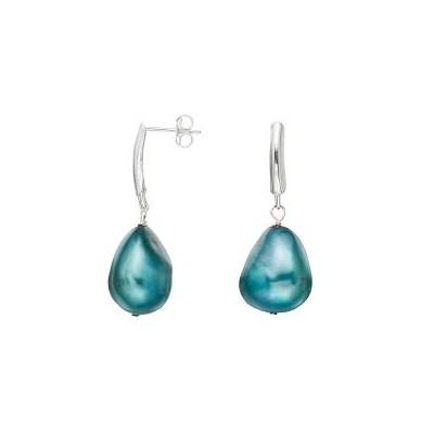 Sterling Silver Blue Baroque Pearl Dangle Earrings (13-14 mm)