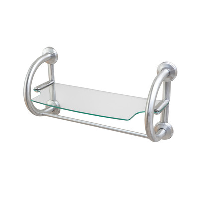 2-IN-1 Grab Bar & Towel Shelf - Brushed Nickel