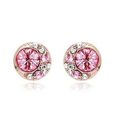 18K Gold Plated Pink Moon Stud Earrings