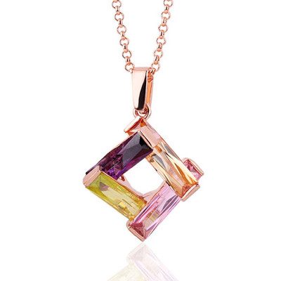 18K Gold Plated Multicolour Rhombus Pendant