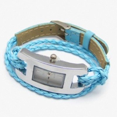 2 X Handmade Leather Bracelet Watch - Blue Color