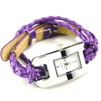 2 X Handmade Leather Bracelet Watch - Purple Color