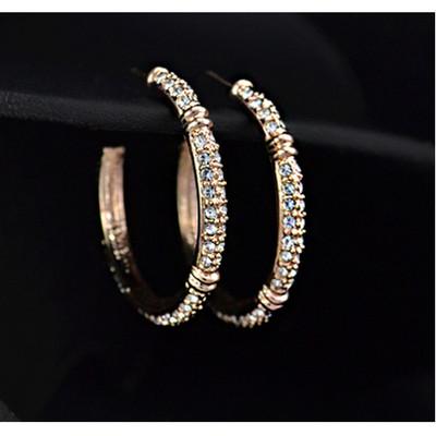 18K Gold Plated Inlaid Austrian Rhinestones Hoop Earrings