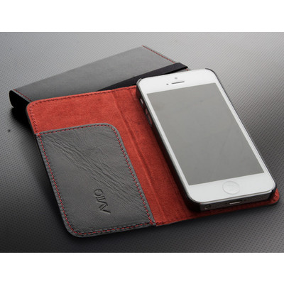 Leather iPhone 5 Wallet Case - Black/Orange
