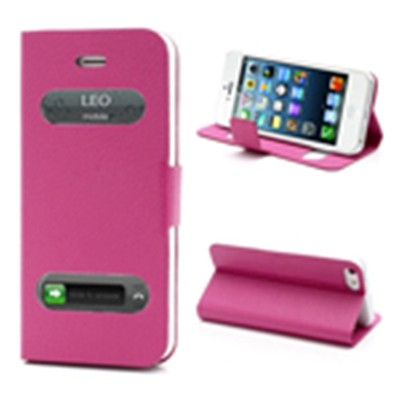 2 X Smart Caller Display iPhone 5 PU Leather Case - Pink color