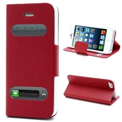 2 X Smart Caller Display iPhone 5 PU Leather Case - Red color
