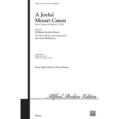 Music Choral Joyful Mozart Canon - arr Shafferman (2,3 part) - Alfred Music - 00-16056