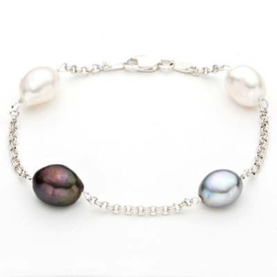 Silver Multi-colored Freshwater Baroque Pearl Bracelet (9-10 mm)