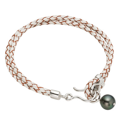 Silver and Leather Black Tahitian Pearl Bracelet (9-10 mm)