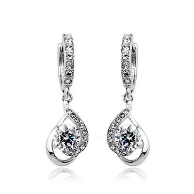 Platinum Plated Swiss Cubic Zirconia Dangle Hoop Earrings