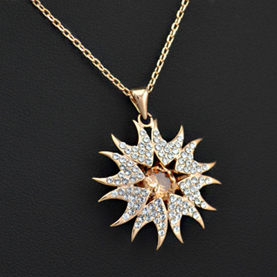 18K Rose Gold Plated Cubic Zirconia Sunflower Pendant