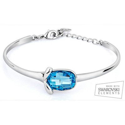Crystal Blue Topaz Bangle Bracelet