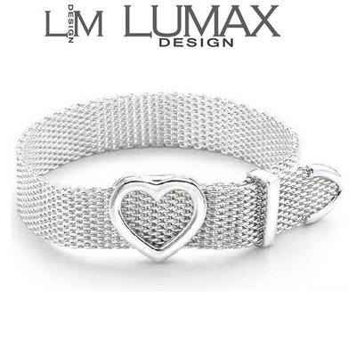 Sterling Silver Plated Heart Mesh Bracelet
