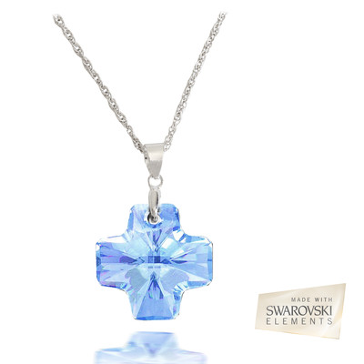 Swarovski® Embellished Aquamarine Crystal 19.5mm Cross Pendant.