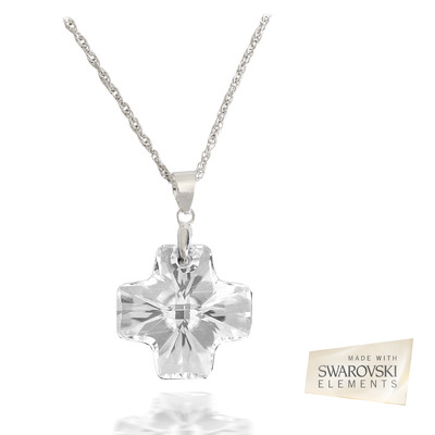 Lumax Swarovski Embellished Crystal 19.5mm Cross Pendant.