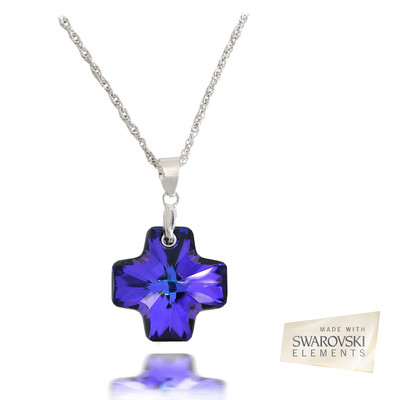 Swarovski Embellished Heliotrope Crystal 19.5mm Cross Pendant.