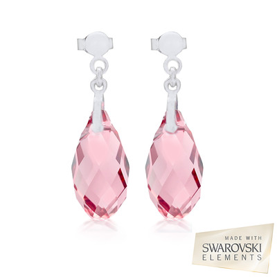 Swarovski Light Rose Briolette Crystal Earrings.
