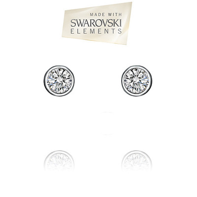 Swarovski® Embellished  Bezel Set Crystal Round Shape Stud Earrings.