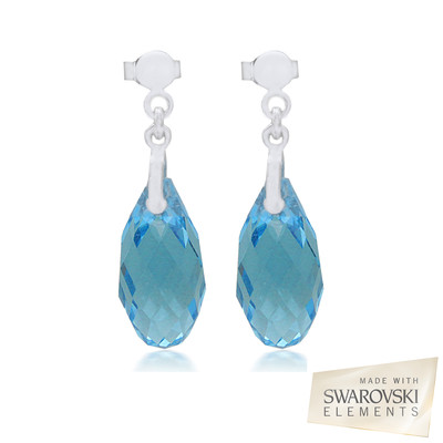Swarovski Embellished  Aquamarine Briolette Crystal Earrings