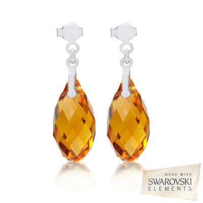 Swarovski EmbellishedTopaz Briolette Crystal Earrings.