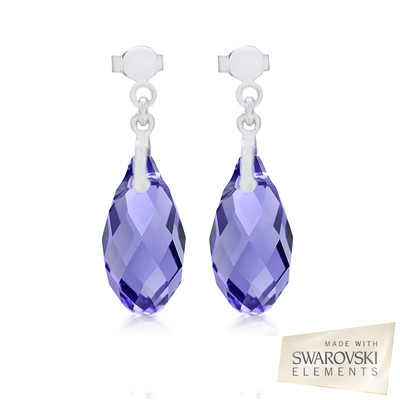 Swarovski® Embellished Tanzanite Briolette Crystal Earrings.