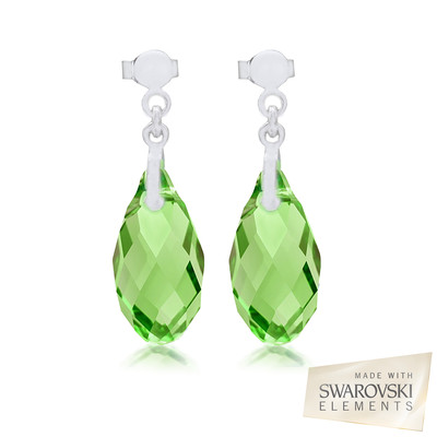 Swarovski Embellished Peridot Briolette Crystal Earrings.