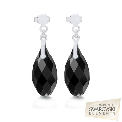Swarovski Embellished Black Briolette Crystal Earrings.