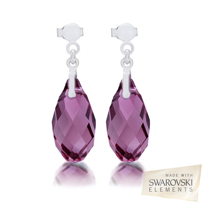 Swarovski Amethyst Briolette Crystal Earrings.
