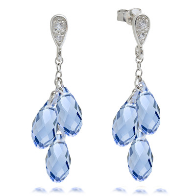 Lumax Swarovski Embellished Sapphire Briolette Dangle Earrings