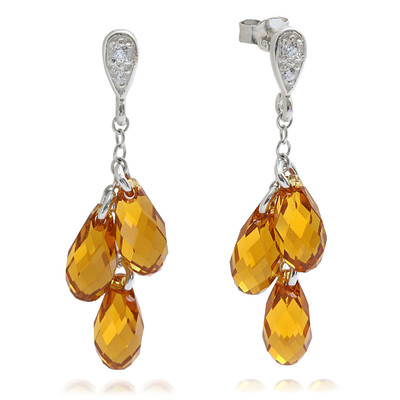 Lumax Swarovski® Embellished Yellow Topaz Briolette Dangle Earrings