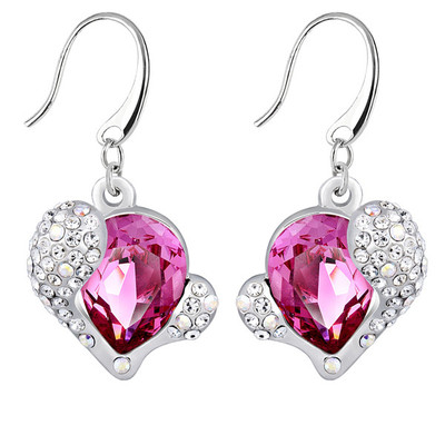 Swarovski Embellished Pink Crystal Heart Earrings