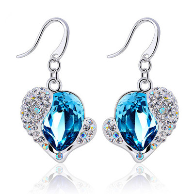 Swarovski Embellished Aquamarine Crystal Heart Earrings
