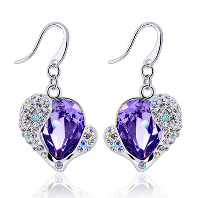 Swarovski Tanzanite Crystal Heart Earrings