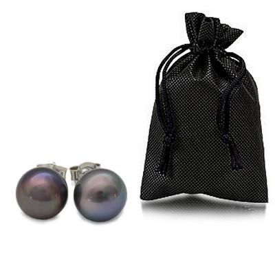 Black 9.0MM AAA Quality Freshwater Pearl Sterling Silver Stud Earrings