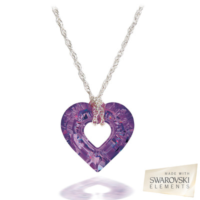Swarovski® Embellished Amethyst Crystal Miss U Heart Pendant