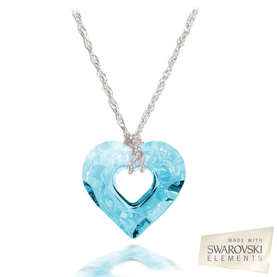 Swarovski® Embellished Aquamarine Crystal Miss U Heart Pendant