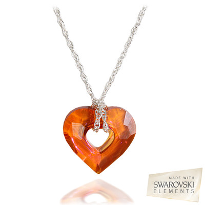 Swarovski® Embellished Red Magma Crystal Miss U Heart Pendant