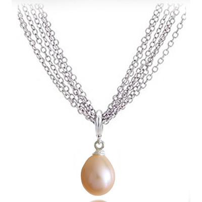 Peach 9.0x6.00MM AAA Quality Freshwater Pear Shape Pearl Necklace
