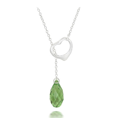 Swarovski® Embellished Peridot Crystal Briolette Heart Necklace.