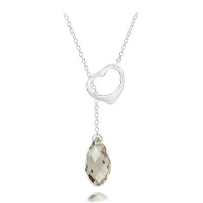 Silver Shade Crystal Briolette Heart Necklace