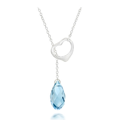 Swarovski® Embellished Aquamarine Crystal Briolette Heart Necklace.