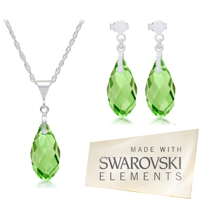 Swarovski Embellished Peridot  Pendant & Earrings  Silver Set