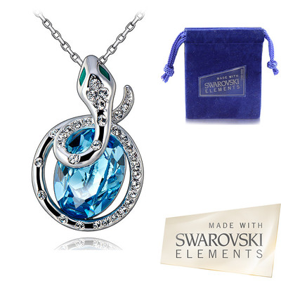 Swarovski Elements Aquamarine Crystal New Year 2013 Snake Pendant 18 Inches