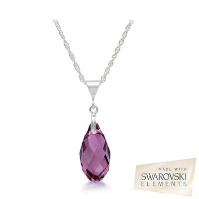 Swarovski Embellished Amethyst Briolette Crystal Pendant.