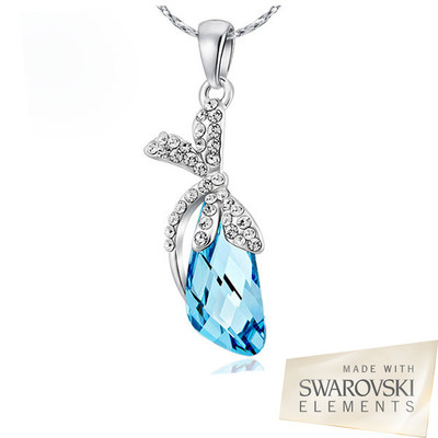 Swarovski Elements Aquamarine Dragonfly Pendant 18 Inches