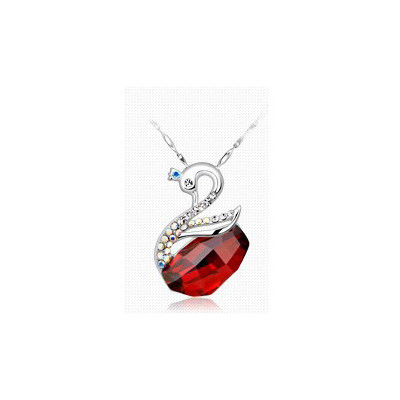 Swarovski Embellished Swan Ruby Red Pendant.